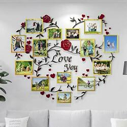 Family Tree Wall Decor Picture Frame Collage Golden Removable For Living Room