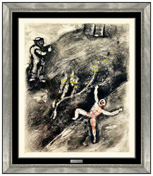 Marc Chagall Hand Colored Etching L Enfant Fables Fontaine Modernism Framed Art