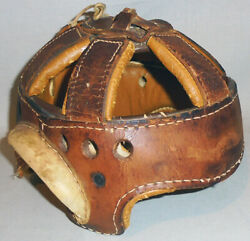 -rare- Early -stall And Dean- Antique Leather Football/hockey Spoke/harness Helmet