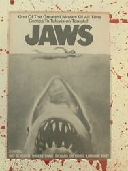 Original Rare Tv Ad Jaws Movie Advertisement Framed And Matted