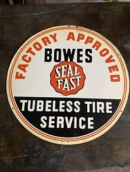 Vintage 1950s Bowes Seal Fast Indiana Racing Advertising Sign Gas And Oil