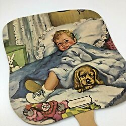 Antique Hand Fan Thompson Funeral Home Shelbyville Tn Toddler With Puppy