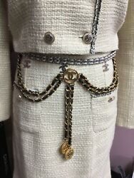 💯 Auth Extremely Rare Vtg Leather Chain 3 Pin Chatelaine Brooch/ Belt