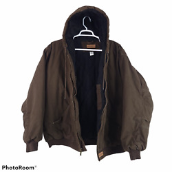 Wolverine Brown Canvas Quilt Lined Insulated Hooded Work Jacket Menand039s 2xl Xxl