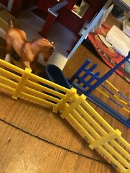 Breyer stable with horse and trough and More