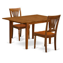 East West Furniture Milan Wood 3-piece Dining Set With Brown Mlpl3-sbr-w