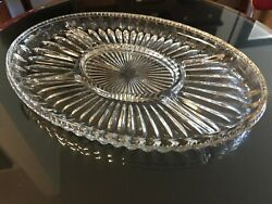 Large Heavy / Thick Brilliant Cut Glass/crystal Sectioned Plate/ Tray 3.5 Lbs