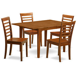 East West Furniture Milan Wood 5-piece Dining Set With Brown Mila5-sbr-w