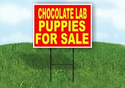 Chocolate Lab Puppies For Sale Yellow Red Yard Sign Road With Stand Lawn Sign