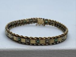 Vintage 14k Yellow Gold Hinge Bracelet With Accent Diamond And Emerald Stones