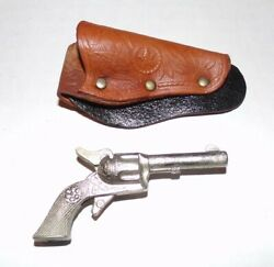 Miniature Daisy Six Shooter Toy Cap Gun In Star Leather Holster 2.5 Diecast