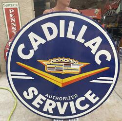 Large Vintage And039and039cadillac Serviceand039and039 48 Inch Porcelain Sign Double Sided
