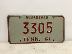 Vintage 1961 Tennessee Guardsman License Plate National Guard