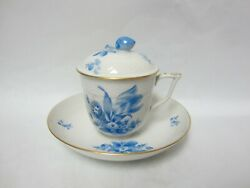 Herend Blue Floral Pot De Creme With Lid And Saucer Under Plate