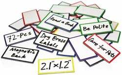 72-pcs Magnetic Dry Erase Labels Name Plates Tags 2.1' X1.2' - Colored Magnets F