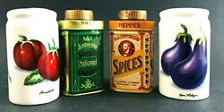 Vintage Spice Cans Vegetable Fruit Theme Salt And Pepper Shakers