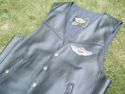 Authentic Harley Davidson Snap Front 100th Anniv Leather Vest Large W/ Patches
