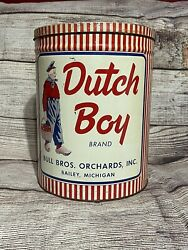 Vintage Dutch Boy Brand Bull Bros. Orchard, Bailey Mich Tin Can Large Size