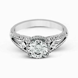 Solid 14k White Gold Womenand039s 2.00 Ct Diamond Round Cut Rings Size 6.5 7 8 Sale