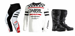 Oneal Element Squadron White Jersey Pant Boots Combo