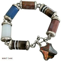 Antique Victorian Scottish Chunky Sterling Silver Agate And Jasper Pebble Bracelet