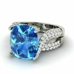 5.00 Ct Solitaire Natural Gemstone Topaz Ring 14k Solid White Gold Size 5.5 6 7