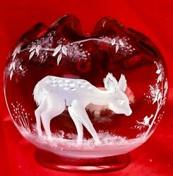 Fenton Mary Gregory Deer Fawn And Bird Ruby Red Le Nib Tags Excellent Gorgeous