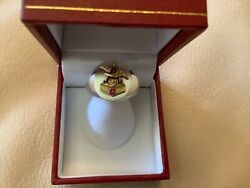 10k Yellow Gold Vintage Anheuser Busch Emblem On New Oval Sterling Silver Ring