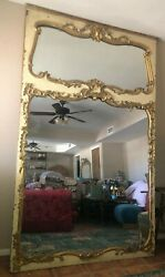 Huge 19c Antique French Trumeau Mirror