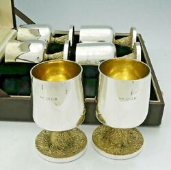 Set Of Six English Sterling Goblets In Box Grant Mcdonald London