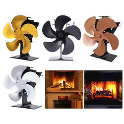 5 Blades Fireplace Fan Wood Stove Air Blower Fan Eco Silent Fuel Saving