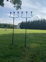 """2 Antique Wrought Iron Gothic Revival Floor Candelabra 3candle Holder Heavy 55"""""""