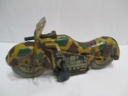 Military Motorcycle With Sparking Gun Wind-up Tested Works Good Made In Japan