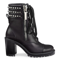 Christian Louboutin Winter Spikes 70 Black Leather Combat Ankle Heel Boot 35