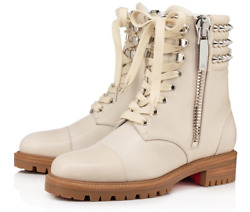 Christian Louboutin Winter Spikes Flat White Calf Leather Combat Ankle Boot 38