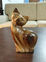 Vintage Hand Carved Wood Shy Post Cat Figurine 6 Tall Art Decor Lacquered
