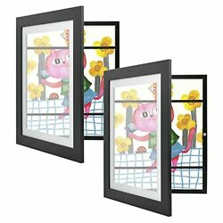 2 Pack 10x12.5 Black Kids Art Picture Frames Front-opening For Drawings Artworks