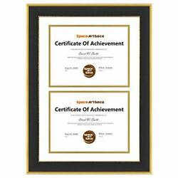 Space Art Deco Gold/black Design Diploma Frame White Over Gold Double Mat For