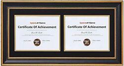 12x16 Gold Diploma Frame For Two 8.5x11certificates/documents Hanger Wall Mount