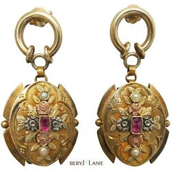 Antique Victorian 18ct Tricolour Gold Upcycled Ornate Ruby And Seed Pearl Earrings