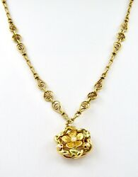 Vintage French Yellow Gold 18k Collar And Pendant Length 47.00cm, 10.50inches