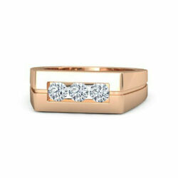 Real 0.30 Ct Diamond Engagement Ring Solid 14k Rose Gold Men's Band Size 10 11