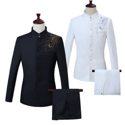 Mens Chinese Tunic Suit 2pcs Sets Crystals Slim Fit Jacket Trousers Chorus Party