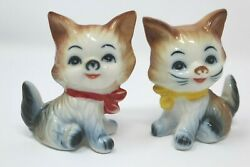 TWO Kittens Cat Porcelain Figurines Hand Painted Yellow Red Bows 3#x27;#x27; Tall CUTE