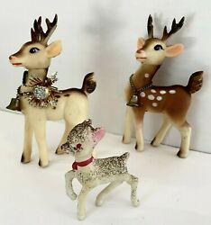 Vintage Soft Rubber Deer Moveable Heads Small Plastic Fawn Christmas Reindeer