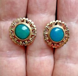Estate 14k Rose Gold And Persian Turquoise Stud Pierced Earrings 4.2 Grams