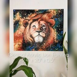 Original Acrylic Lion Painting On Stretched Canvas Large 24 X 20 X0.5