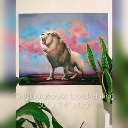 Original Acrylic Lion Painting On Stretched Canvas Large 30 X 24 X0.5