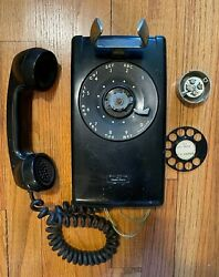 Vintage Bell System Western Electric Rotary Wall Phone Telephone Black Parts