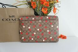 Nwt Coach 6296 Laptop Sleeve Zip Case Cover In Signature Canvas W/ Apple Print